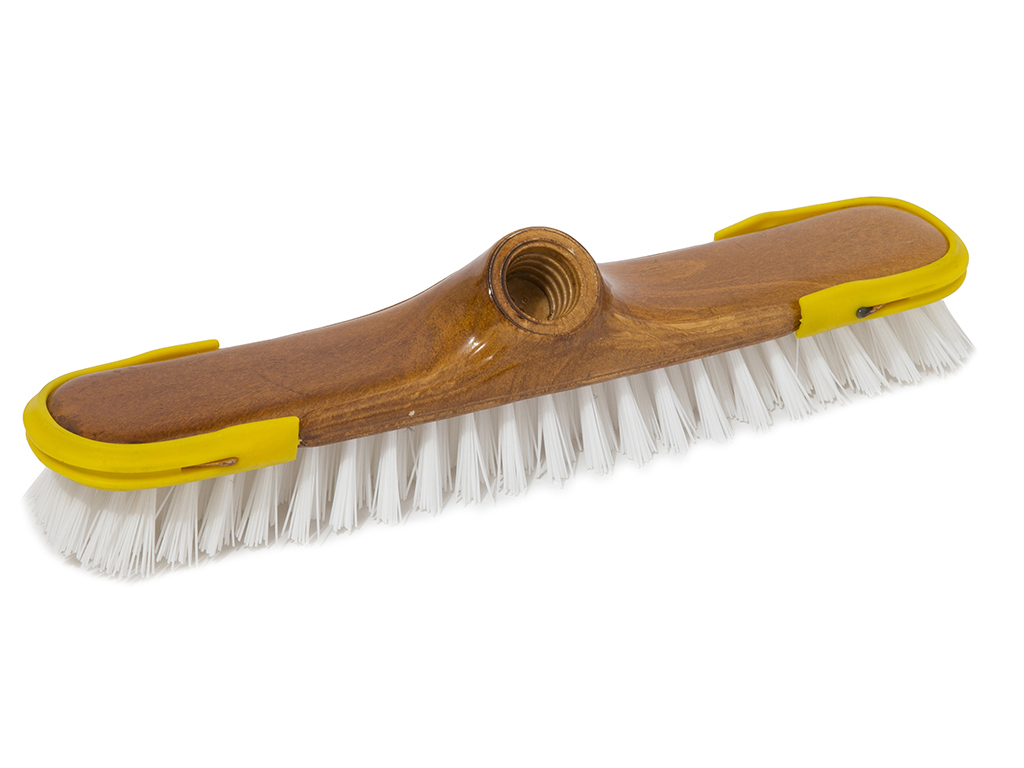 varnished scrubbing brush with rubber