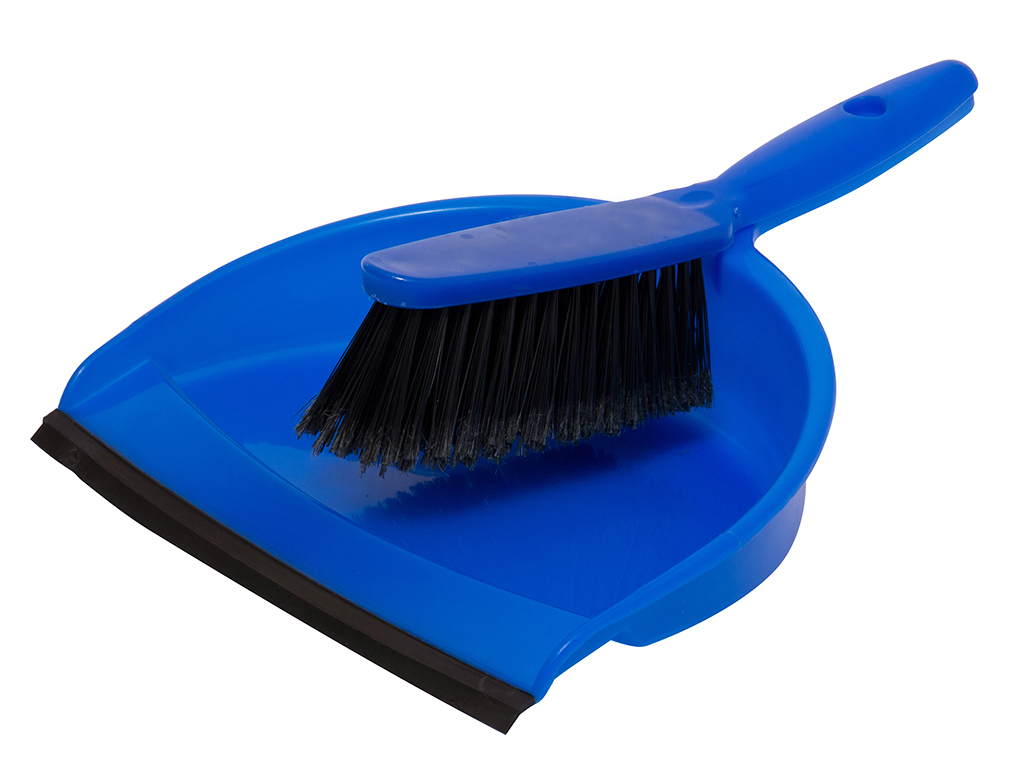 dust pan with rubber + brush